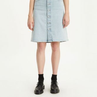A LINE MIDI BUTTON SKIRT