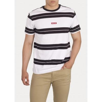 Levi´s pánské triko SS RELAXED BABY TAB T 79554-0003 White Black Stripe