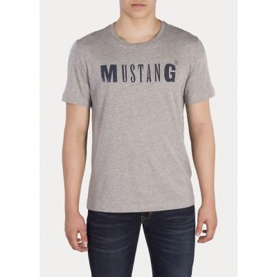 Mustang pánské triko Logo Tee 1005454-4140 Mid Grey Melange