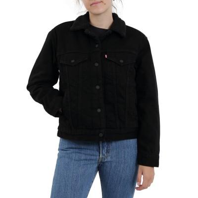 Levi´s dámská jeans bunda s kožíškem 36137-0015 EX BF Sherpa Trucker Forever Black