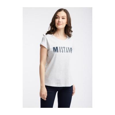 Mustang dámské triko Logo Tee 1005455-4141 Grey Melange